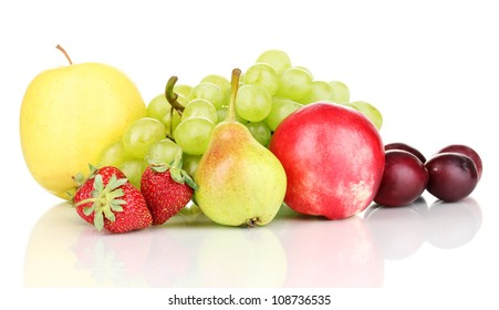 Mix of ripe sweet fruits and berries isolated on white