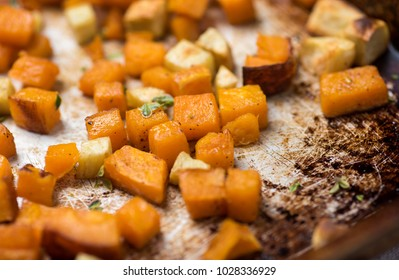 Mix of Roasted Sweet Potatoes and Butternut Squash on Sheet Pan