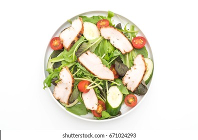 mix salad with grilled chicken isolated on white background - healthy food style