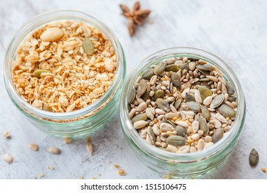 Mix of seeds and cereals for a breakfast or any meal.
