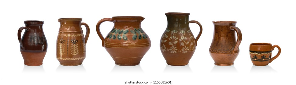 Mix set of rustic jugs isolated on white background, different size and shape