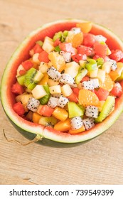 mix sliced fruits (orange, dragon fruit, watermelon, pineapple, kiwi)