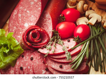 Mix of sliced sausage with vegetables