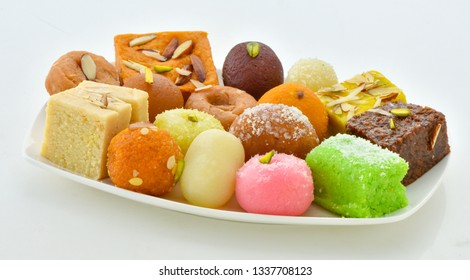 Mix Sweets in Dish, A large variety of Pakistani Mithai