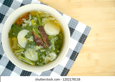 Mix vegetable and shiitake mushroom with soup. Fresh ingredient. Radish, Cabbage, Spinach. Chinese. Famous in vegetarian food. Easy to cook. Copy space.