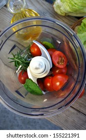 Mix of vegetables for salad on the summer terrace
