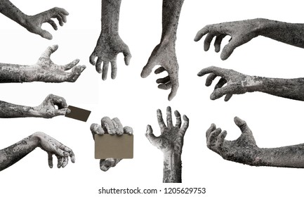 Mix of zombie hands monster cinder darkness isolated on white background.