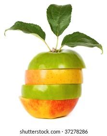Mixed apple on white background