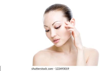 Mixed Asian Beauty Headshot touching side of face