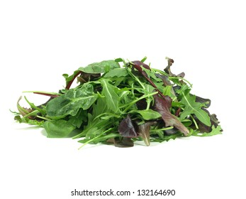 mixed baby green salad on white background