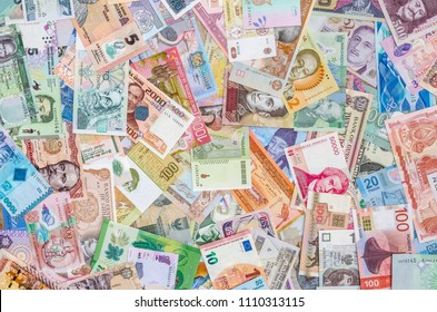 Mixed banknotes collection used for background, close up