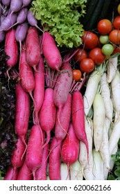 mixed beetroot tomato radish and green oak red oak vegetable background