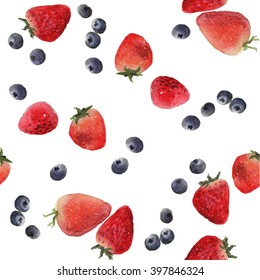 mixed Berries: strawberry, blueberries.Antioxidant berry. Pattern seamless isolated white background illustration watercolor vector.