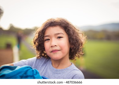 Curly Hair Kidboychild Age Elementary 78 Years Stock Photo Edit Now