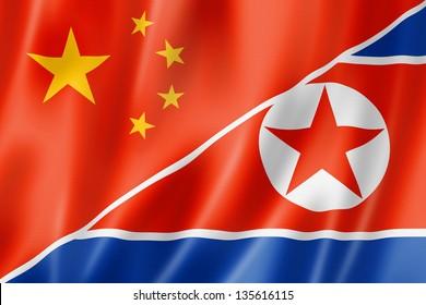 Mixed China and north korea flag, three dimensional render, illustration