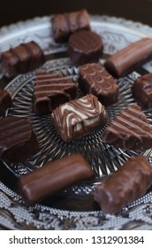 Mixed Chocolates in glass bowl, close up
