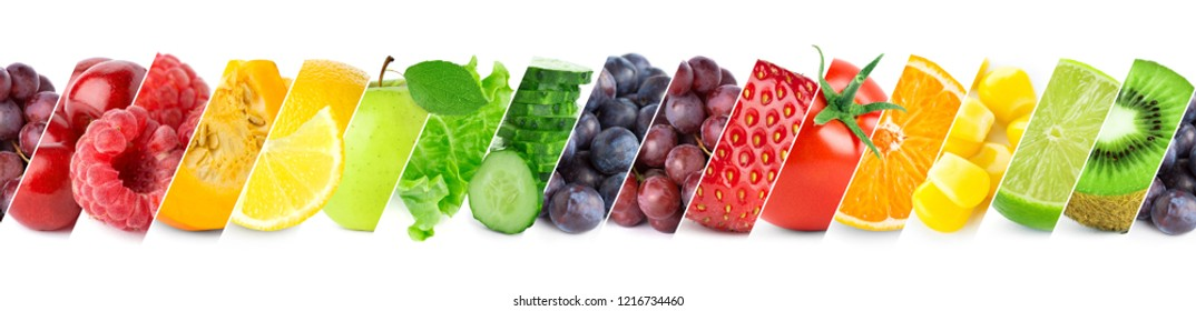 Mixed of color fruits and vegetables. Fresh ripe food. Food concept