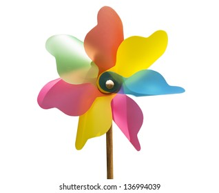 Mixed color Pinwheel, toy fan isolated (with clipping path)