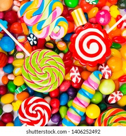 Mixed colorful sweets, candies, lollypop