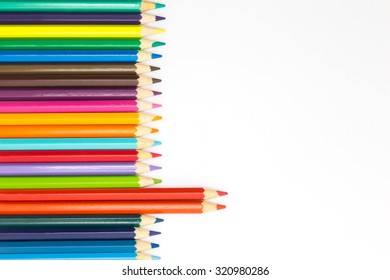 Mixed of colour wooden pencil on white background
