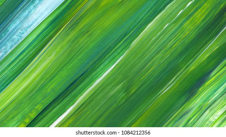 Mixed colours acrylic abstract painting for background, texture use. Green acrylic artwork with brush stroke texture. Modern art, contemporary art.