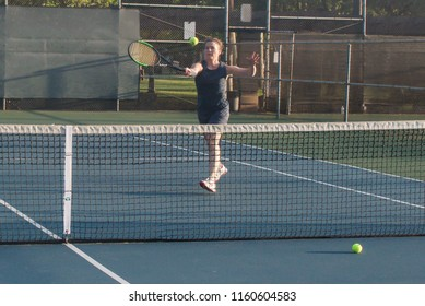Mixed doubles tennis lesson