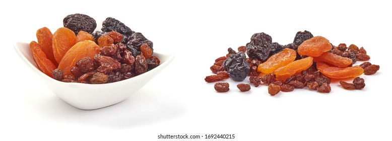 Mixed dried fruits, isolated on white background.