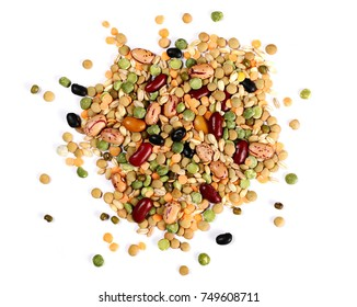 Mixed dried legumes and cereals isolated on white background, top view
