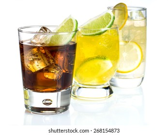 Mixed drinks on white background