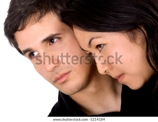mixed ethnic couple of lovers with high expectations and aspirations - isolated over a white background