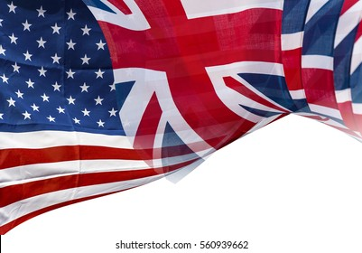 Mixed Flags of the USA and the UK, English and American flag, background