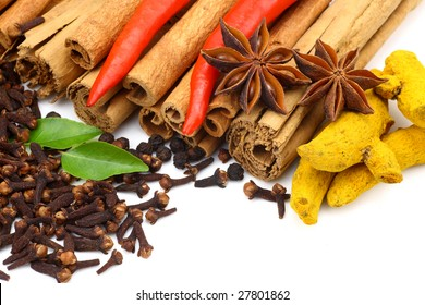 Mixed flavoring food on white background