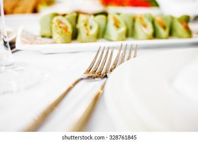 Mixed food on banquet wedding table.