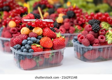 Mixed fresh berries ready to eat at the market