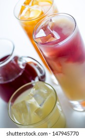 mixed fresh cold fruit juices