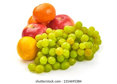 Mixed Fresh fruits, close-up, isolated on white background.