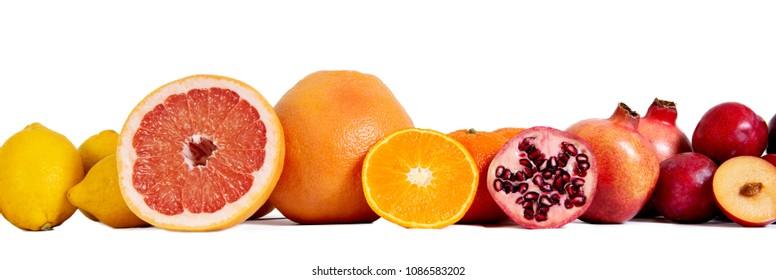 Mixed fresh fruits isolated on white