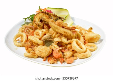 mixed fried fish,shrimp, squid and octopus fried