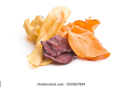 Mixed fried vegetable chips isolated on white background.