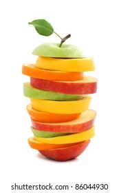 Mixed fruit apple orange lemon