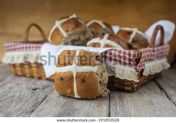 Mixed fruit Easter hot cross buns