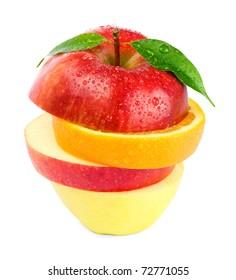 Mixed fruit. Isolated on white background.