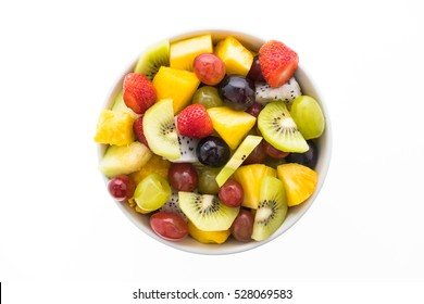 Mixed fruit in white plate isolated on white background - Healthy food style