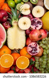 Mixed fruits background colorful isolated