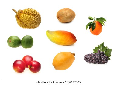 mixed fruits collection isolated on white background