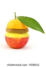 mixed fruits isolated on white background
