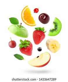 Mixed fruits on white background. Fruits falling