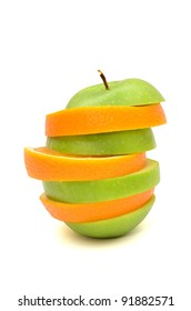 Mixed fruits, Orange and Green Apple