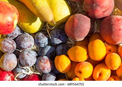 Mixed fruits top view