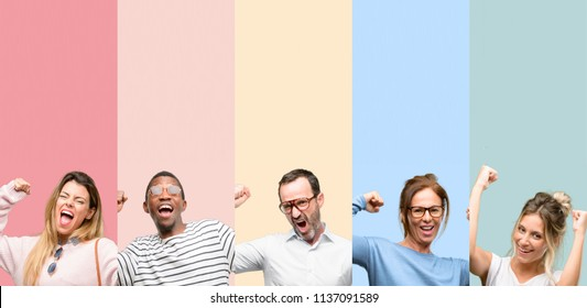 Mixed group of people, women and men happy and excited celebrating victory expressing big success, power, energy and positive emotions. Celebrates new job joyful